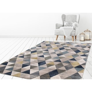 "Concord Global Olympus Prisms Blue Area Rug - 6'7"" x 9'3"""