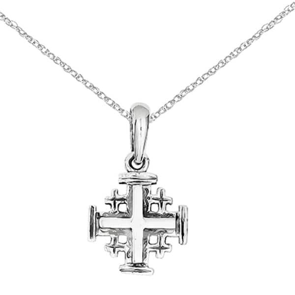 Details about  /14k White Gold Jerusalem Cross Charm Pendant 1.1 grams