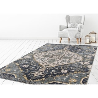 "Concord Global Olympus Gem Blue Area Rug - 6'7"" x 9'3"""