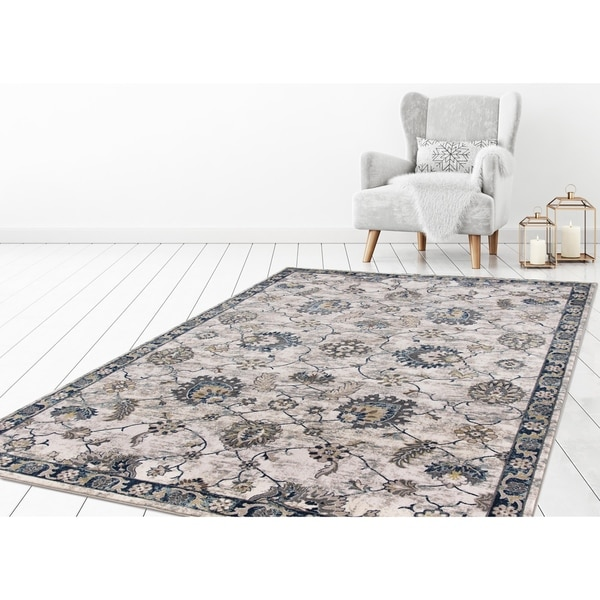 "Concord Global Olympus Taj Ivory Blue Area Rug - 6'7"" x 9'3"""