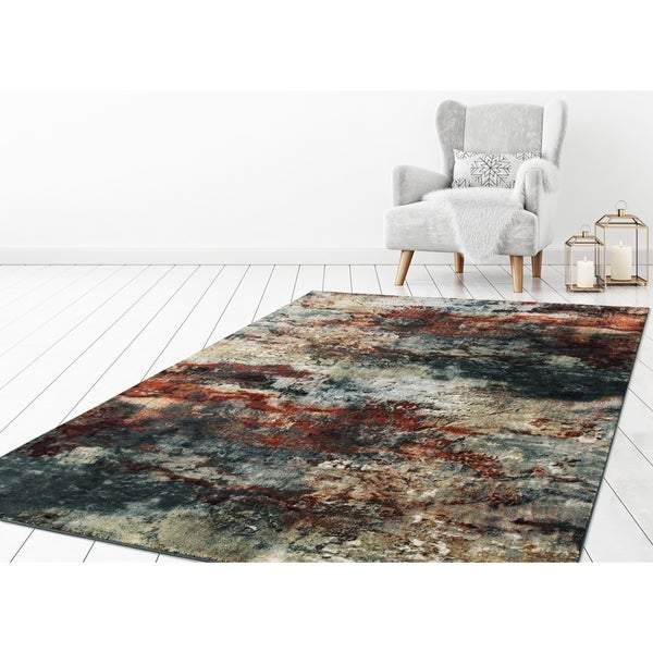 "Concord Global Olympus Slate Red Area Rug - 7'10"" x 10'6"""