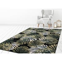 "Concord Global Olympus Palms Black Area Rug - 6'7"" x 9'3"""