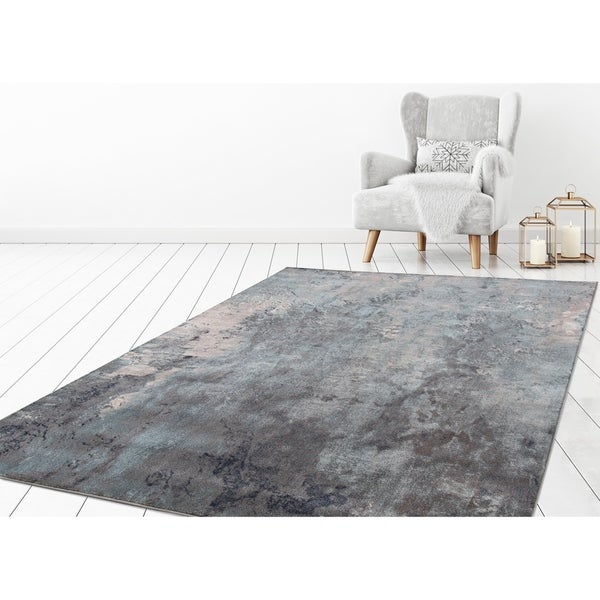 "Concord Global Olympus Marble Blue Area Rug - 6'7"" x 9'3"""
