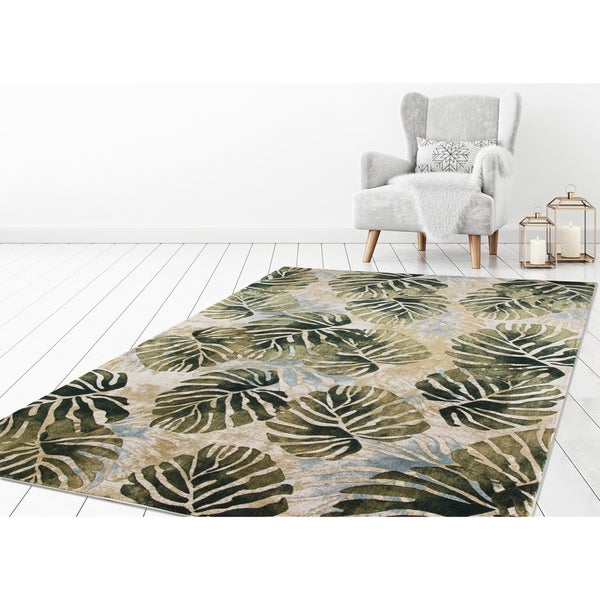 """Concord Global Olympus Palms Ivory Area Rug - 6'7"""" x 9'3"""""""