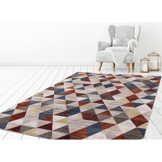 """Concord Global Olympus Prisms Red Area Rug - 7'10"""" x 10'6"""""""