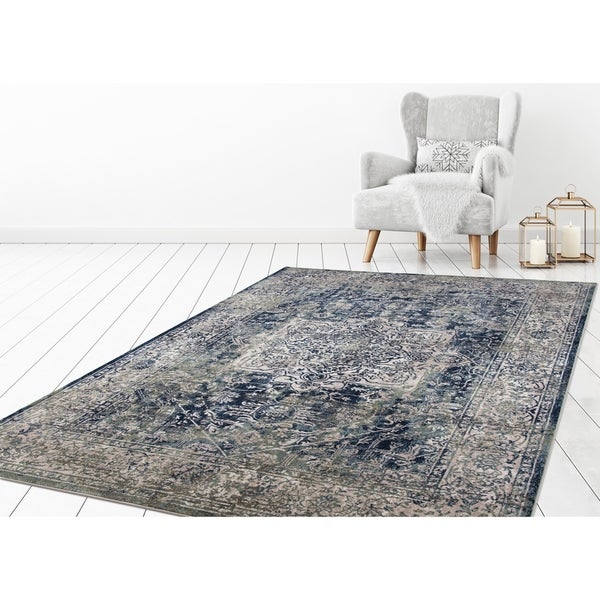 "Concord Global Olympus Vintage Blue Area Rug - 6'7"" x 9'3"""