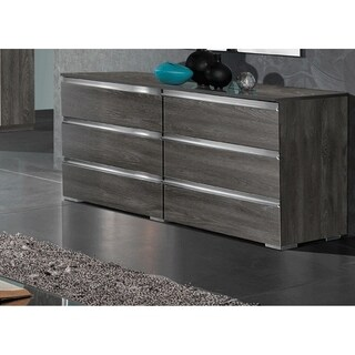 Luca Home Chicago Grey/Silver Metal/Wood Modern Double Dresser