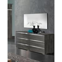 Luca Home Chicago Modern Grey/Silver Metal/Wood Double Dresser and Mirror Set