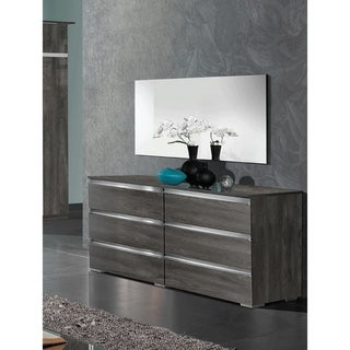 Luca Home Chicago Modern Style Double Dresser and Mirror Set