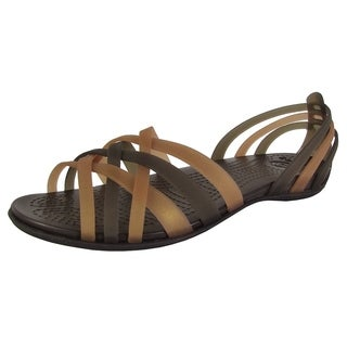 Link to Crocs Womens Huarache Flat Open Toe Sandal Shoes, Bronze/Espresso Similar Items in Women's Shoes