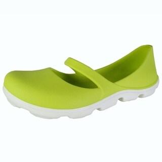 Crocs Womens Duet Sport Mary Jane Shoes, Citrus/White