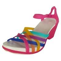 Crocs Womens Huarache Wedge Sandal Shoes, Multi/Candy Pink