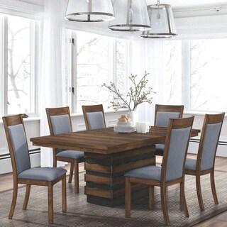 Mid Century Rustic Live Edge Tree Slab Design Dining Set with Storage Base