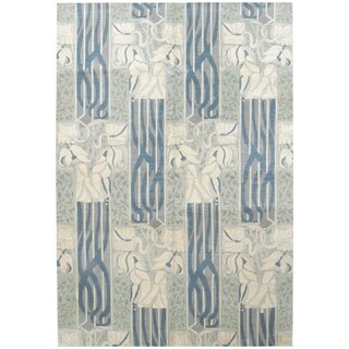 Wool and Silk Modern Rug - 6' x 9'