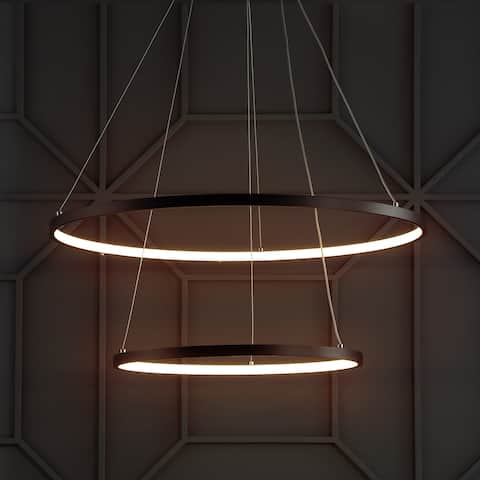 """Brice 24"""" Round Integrated LED Metal Chandelier, Matte Black by JONATHAN Y"""