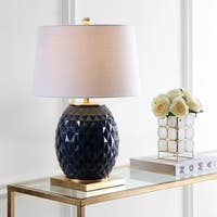 "Diamond 25.5"" LED Glass/Metal Table Lamp, Navy/Gold Leaf"