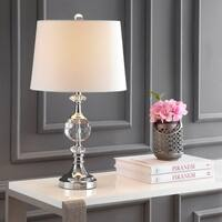 "Channing 25.5"" LED Crystal/Metal Table Lamp, Clear/Chrome"