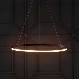 "Brice 23.7"" Integrated LED Round Metal Chandelier, Matte Black"