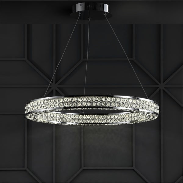 "Benton 24.7"" Round Integrated LED Crystal/Metal Chandelier, Chrome/Clear by JONATHAN Y"