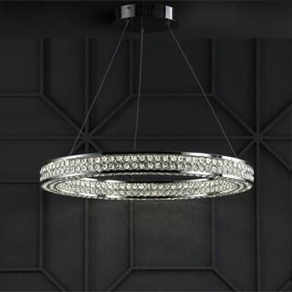 "Benton 24.7"" Integrated LED Round Crystal/Metal Chandelier, Chrome"