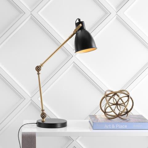 "Barnes 24"" LED Metal Task Lamp, Black/Brass Gold by JONATHAN Y"