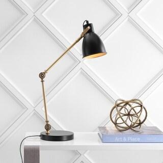 "Barnes 24"" LED Metal Task Lamp, Black/Brass Gold"