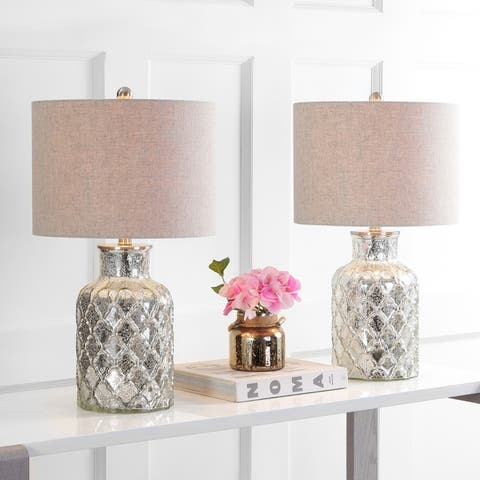 """Alvord 24.5"""" LED Glass Table Lamp, Mercury Silver (Set of 2) by JONATHAN Y"""