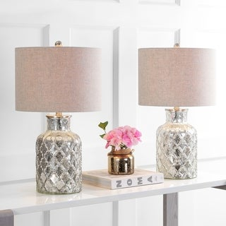 """Alvord 24.5"""" LED Glass Table Lamp, Mercury Silver (Set of 2)"""