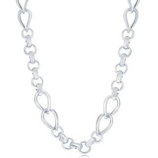 La Preciosa Sterling Silver Italian Alternating Rolo & Twisted Oval Linked High Polished 18'' Necklace