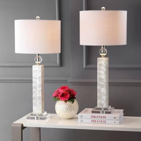 "Bailey 32"" LED Seashell Table Lamp, White (Set of 2) by JONATHAN Y"