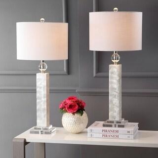"""Bailey 32"""" LED Seashell Table Lamp, White (Set of 2)"""