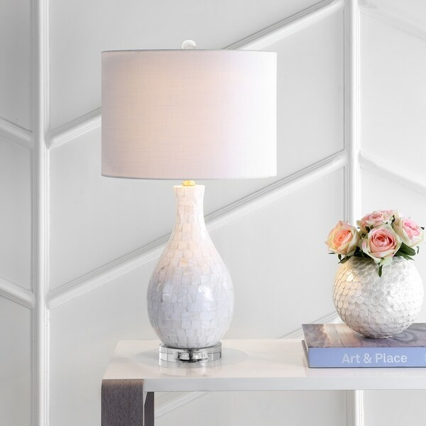 "Josephine 26.5"" Seashell LED Table Lamp, White by JONATHAN Y. Opens flyout."
