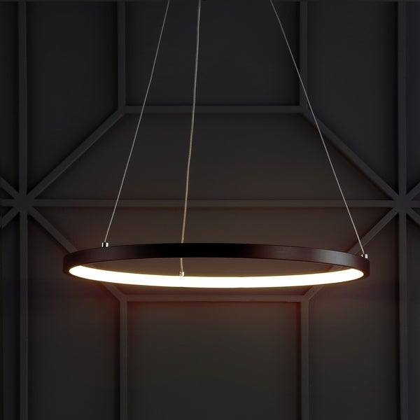 """Bradley 15.7"""" Round Integrated LED Metal Chandelier, Matte Black by JONATHAN Y"""