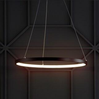 """Bradley 15.7"""" Integrated LED Round Metal Chandelier, Matte Black"""