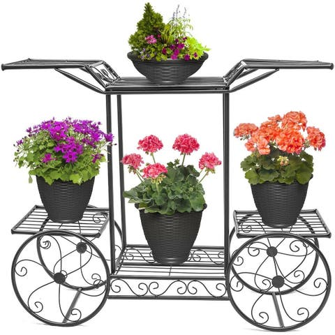 Cart Stand 6 Flower Pot Display Rack - Black