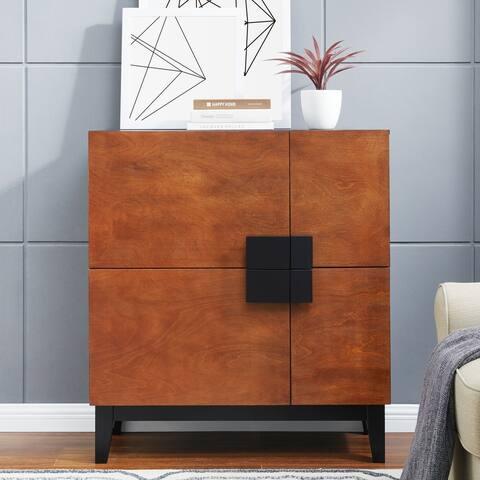 Holly & Martin Hazle Dark Tobacco Black 4-Door Anywhere Storage Cabinet