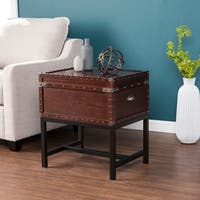 Carbon Loft Blodgett Espresso with Black and Bronze Storage Side Table