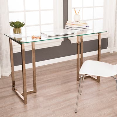 SEI Furniture Haxor Champagne Writing Desk