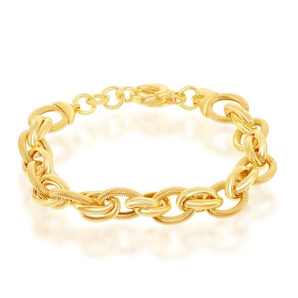 32d2fd61f7aa26 La Preciosa Sterling Silver Italian 14K Gold Overlay High Polish Multi-Oval  Rope Design 7.5'' Bracelet