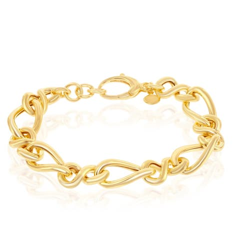 La Preciosa Sterling Silver 14K Gold Overlay Alternating Infinity & Twisted 7+1'' Bracelet