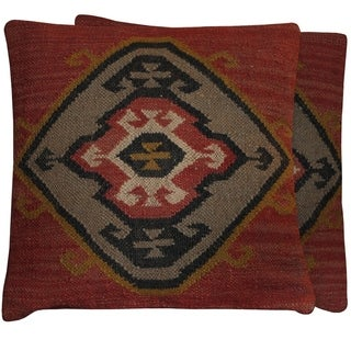 "Handmade 20"" Kilim Throw Pillow, Set of 2 (India)"
