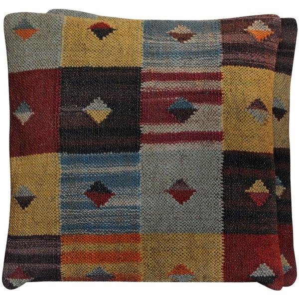 "Handmade Kilim Throw Pillow, Set of 2 (India) - 20"" x 20"". Opens flyout."