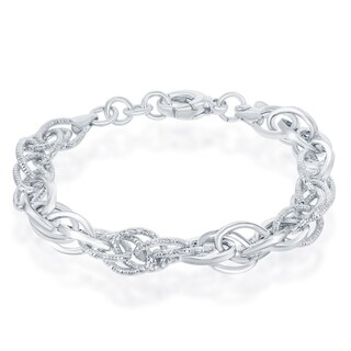La Preciosa Sterling Silver Italian High Polish Alternating Polished &Diamond-Cut Oval Linked 7+1'' Bracelet - White