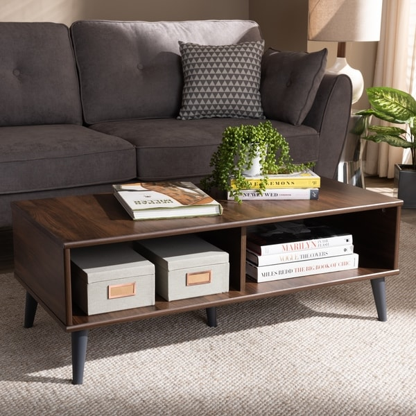 Mid Century Modern Brown Coffee Table By Baxton Studio