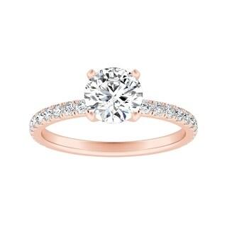 Auriya Classic Round 1ct Moissanite and 1/3ctw Diamond Engagement Ring 14K Gold