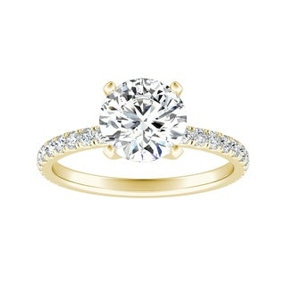Auriya 14k Gold 4ct Round Moissanite and 1/3ctw Classic Diamond Engagement Ring