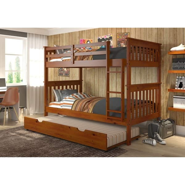 Donco Kids Mission Twin over Twin Bunk Bed with Trundle or Drawers in Light Espresso