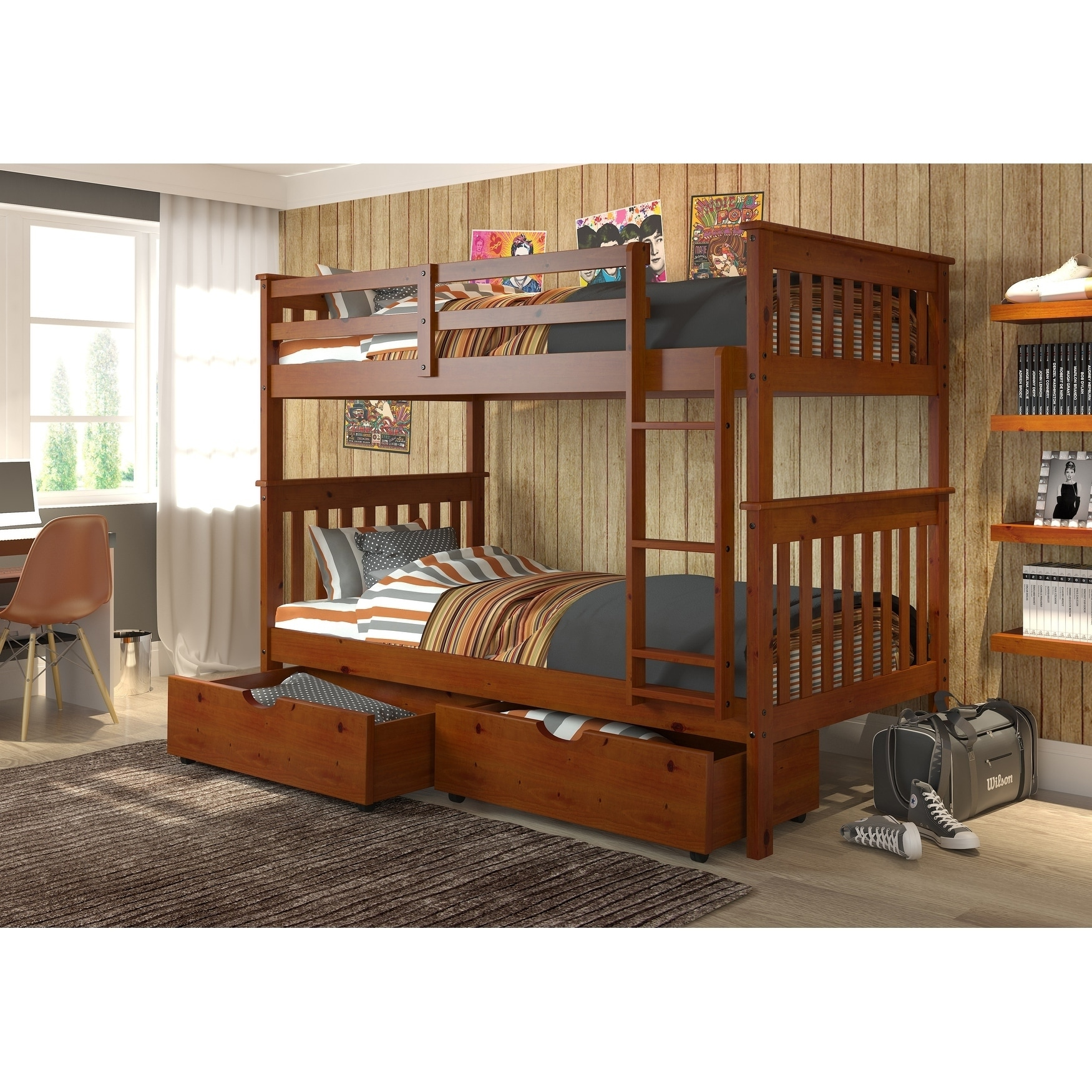 f51041f9b5 Shop Donco Kids Mission Twin over Twin Bunk Bed with Trundle or Drawers in  Light Espresso - On Sale - Free Shipping Today - Overstock - 21545926
