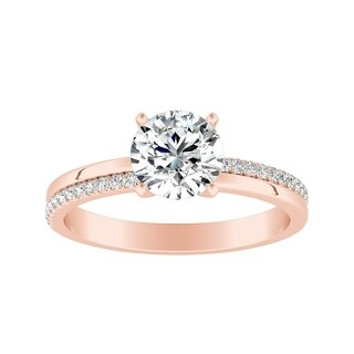 Auriya 14k Gold Contemporary 1ct Round Moissanite and 1/8ct TDW Diamond Engagement Ring