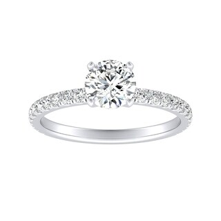 Auriya 14k Gold Classic 1/2ct Brilliant Round Moissanite and 1/3ct TDW Diamond Engagement Ring